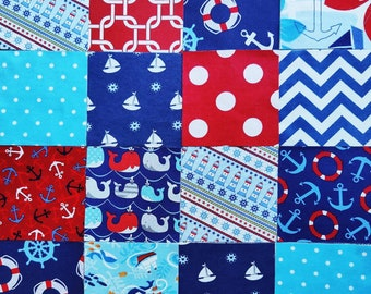 """5"""" Charm Pack of 56 Pre-Cut Flannel & Cotton Quilt Squares for Baby Patchwork Quilt Top for Nautical Quilt Kit  Lovely!"""