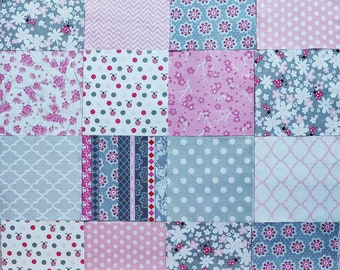 """42 - 6"""" Squares Cotton & Flannel Lady Bugs Quilt Squares for Baby Girl Quilt Top Lady Bugs Pink Gray Floral NEW!"""