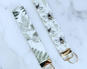 Bees | Ferns| Fabric Keyfob | Keychain |