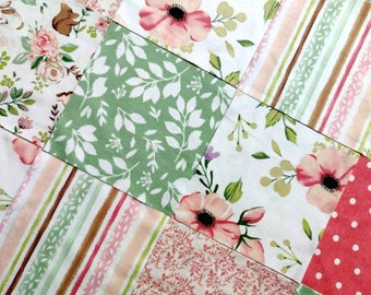 """36 - 6.5"""" Pre-cut Squares of fabric for Baby Girl Bunny & Flowers Quilt Top Large Pre-cut Quilt Top Adorable NEW!"""