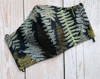 Ferns Leaves Face Mask Washable & Reusable 100% Cotton, Made in USA, NEW!!
