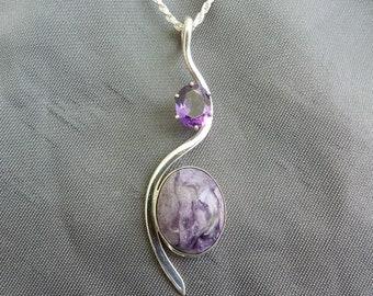 Charoite with deep purple amethyst pendant
