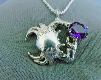 Crab with deep purple amethyst pendant