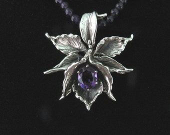 Orchid Pendant with  Dark Amethyst