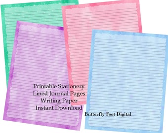 graphic regarding Free Printable Journal Pages Lined titled Printable Magazine Webpages / Stationery Coated Crafting Paper Etsy