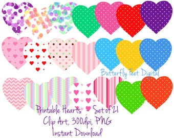 Heart Clipart, PNG Clip Art Hearts, 21 Printable Hearts, Valentine Hearts, Instant Download