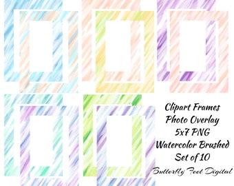 Clip Art Frames / Borders, Scrapbook Frames, Photo Overlay, 14 PNG Clipart 5 x 7 Frames, Watercolor Brushed, Instant Digital Download