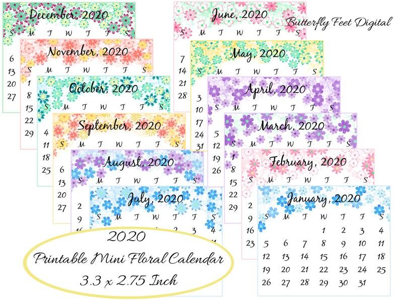 Purse Calendar 2020 Printable Floral Mini Calendar 2020 3.3 x 2.75 inch Pocket | Etsy