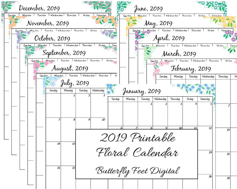 Calendario Dicembre 2019 Stampabile.2019 Stampabile Mensile Calendario Floreale Formato Lettera Ritratto Vista Planner Mensile Download Immediato