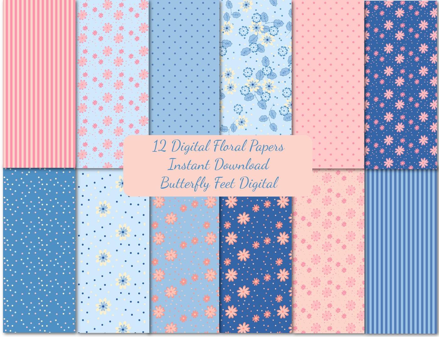 Collage Sheet Floral Digital Paper Floral Scrapbook Pink Roses Digital Paper Pack 1783