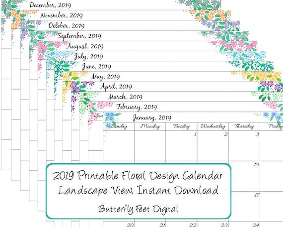 Printable Calendar 2019 Monthly Landscape View Floral | Etsy