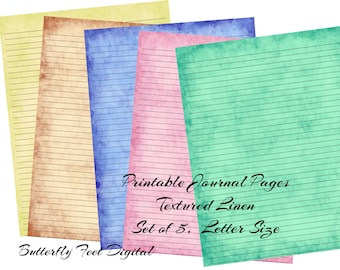 Printable Journal Pages, Lined Paper, Printable Stationery, Textured Linen, Letter Size, Instant Download