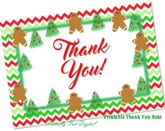 Printable Christmas Thank You Card, Gingerbread, Printable Note Card, Instant Digital Download