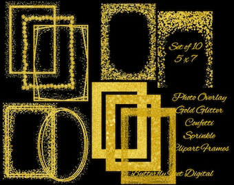 Christmas Photo Overlay, 5 x 7 inch, Gold Glitter Clipart Picture Frames / Borders, PNG Clip Art, Gold Confetti Sprinkle, Digital Download