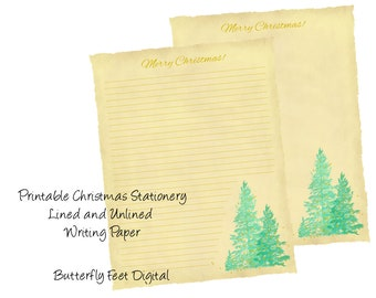 Printable Christmas Stationery, Christmas Letter, Lined Writing Paper, Torn Edge with Trees, Instant Digital Download,
