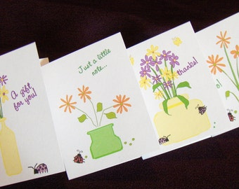 Mini Note Cards, Flowers and Ladybugs, Printable PDF, Printable Stationery, Instant Download