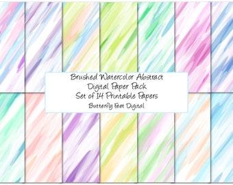 Watercolor Brushed Digital Paper Pack, 14 Printable Designs, Scrapbook Paper, Card Making, Instant Digital Download
