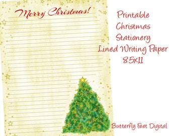 Printable Christmas Stationery, Christmas Letter, Lined Writing Paper, Letter Size 8.5 x 11, Instant Digital Download,
