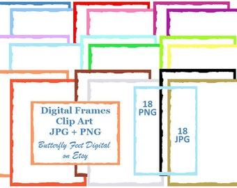 Digital Clip Art Scrapbook Frames, PNG Frames, Torn Edge Paper, Photo Overlay, 18 PNG plus 18 JPG, Instant Digital Download