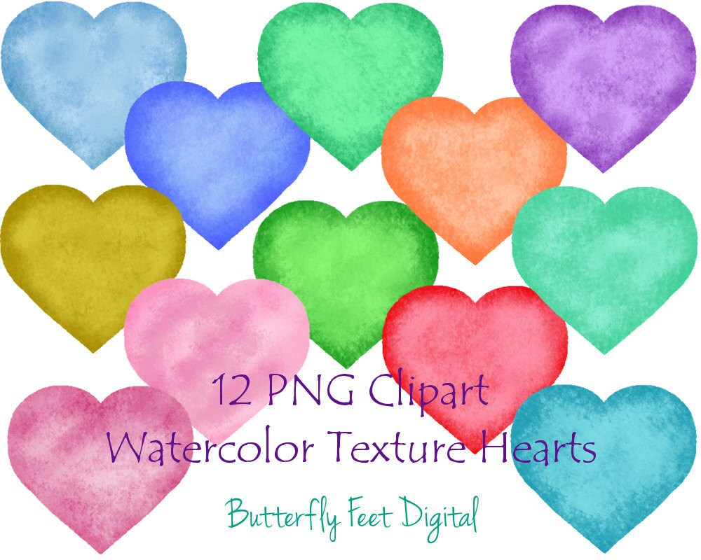 Watercolor Hearts PNG Clip Art 12 Heart Images with | Etsy