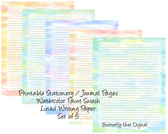 Printable Lined Journal Pages, Printable Stationery, Watercolor Paint Swash, Set of 5, Letter Size, Instant Digital Download