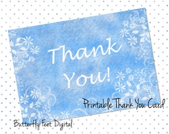 Printable Thank You Card, Floral Card, Thank You Note, Tent Card, Printable Stationery, Blank Card, Instant Download