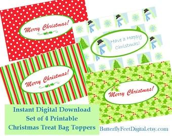 Printable Christmas Treat Bag Toppers Gift Bag Labels, Set of 4, Instant Digital Download,