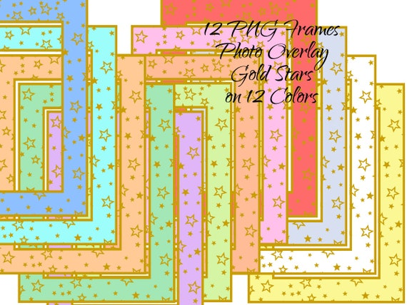 Photo Overlay 5 x 7 inch Gold Stars Instant Digital Download Digital Picture Frames 12 Clipart PNG Images