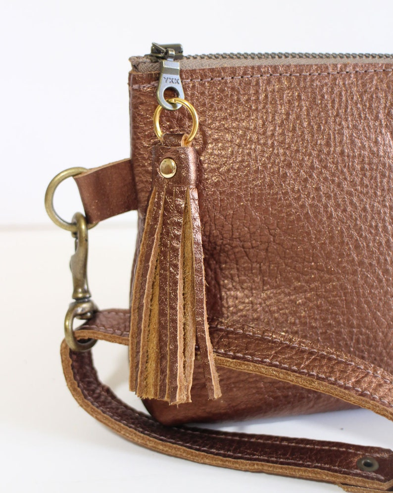 Leather Zipper Pouch  Clutch bag  Purse Clutch  Makeup Pouch with Strap Handle and Tassel Charm Metallic Brown