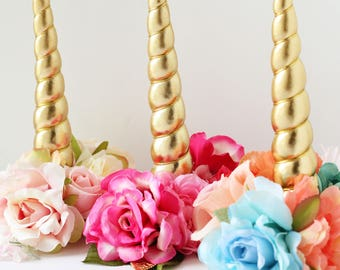 Unicorn horn for horse pony blush pink gold coral aqua flower clip