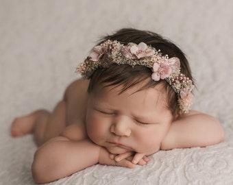 wild child} soft blue Light pink leaf flower headband {natural headband baby headband sky blue headband boho headband floral headband