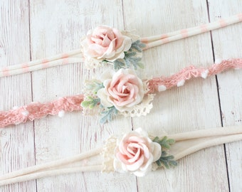 tessa blush coral peach pink ivory  flower headband tieback newborn baby child photography prop