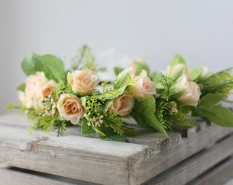 ready to ship  greenery with small peach buds spring headband halo flower crown  child adult boho