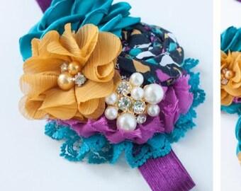 Fonda - plum mustard teal rosette chiffon and lace headband bow