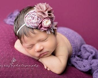 Purpleish- lavender plum mulberry vintage rosette headband bow