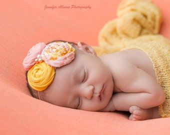 Just Peachy-- triple rosette headband bow in yellow peach + coral