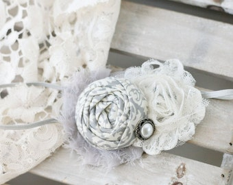 Fitzgerald- grey ivory neutral vintage rosette lace and chiffon headband bow