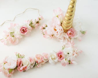 Unicorn horn, flower crown and bridle halter flowers blush pink gold accessory rocking horse carousel horse pony clip photography prop