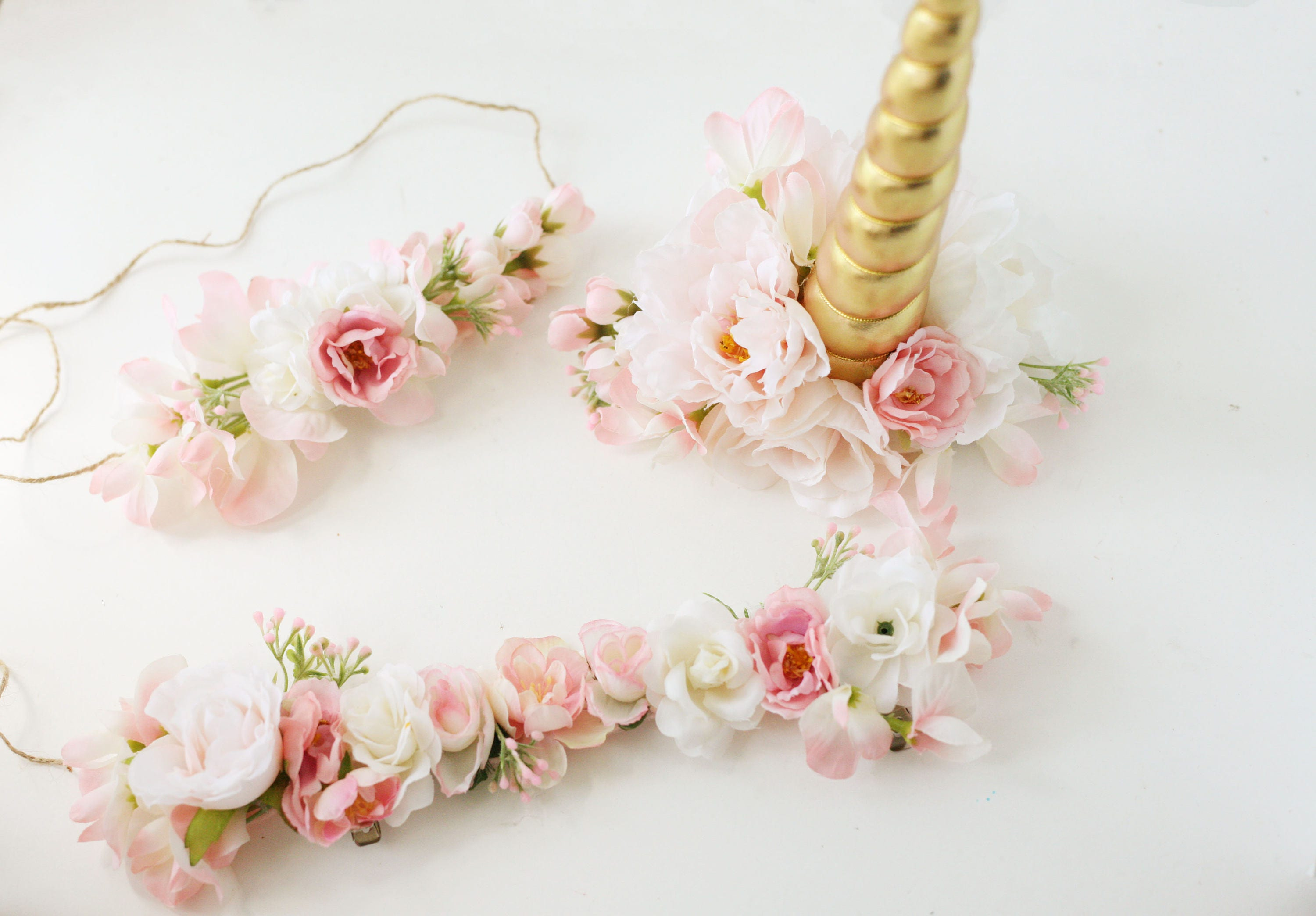 Unicorn horn flower crown and bridle halter flowers blush  5e5cb41855f