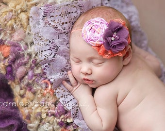 Catch My Eye - plum purple orange rosette and chiffon flower headband