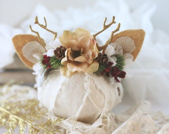 Pine Valley newborn fawn deer christmas red winter pinecone woodland antler crown halo floral headband prop