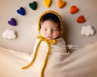 rainbow felted wool hearts with CLOUDS newborn photography prop felt heart set