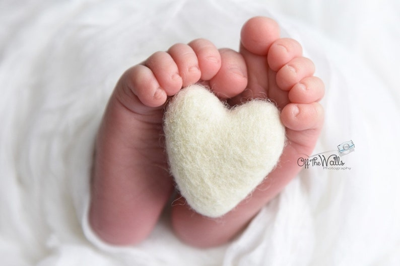 Single ivory felted wool hearts heart newborn photography prop