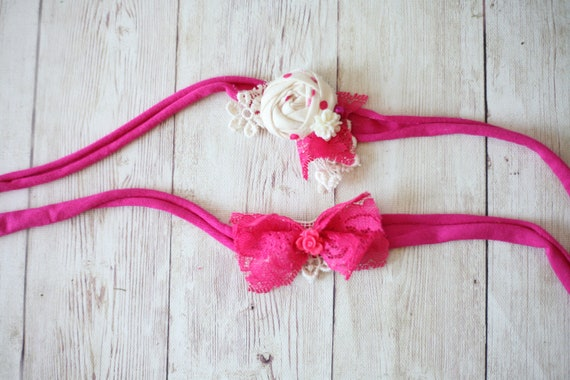 9390fa91f72ac ready to ship fuchsia hot pink ivory rosette rose lace bow
