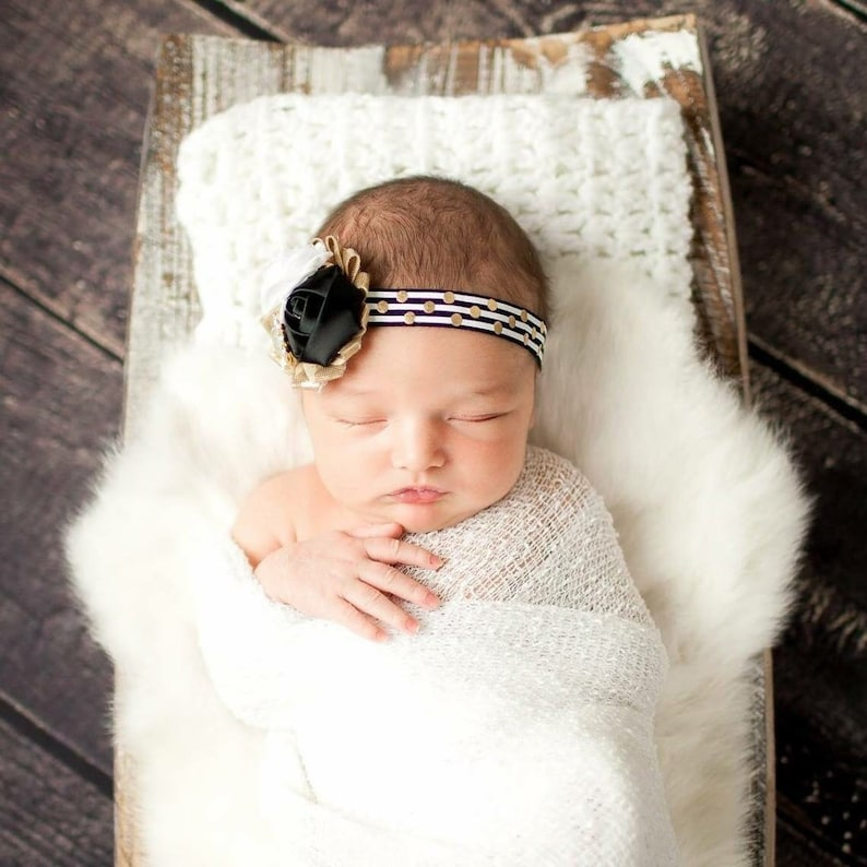 Good As Gold black white and gold polka dot and stripe headband bow