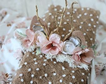 Faline blush pink rose gold rose gold newborn  fawn deer woodland antler crown halo floral headband prop stretch wrap
