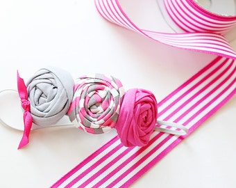 All Else Sails headband - triple rosette in grey hot pink and white stripe bow