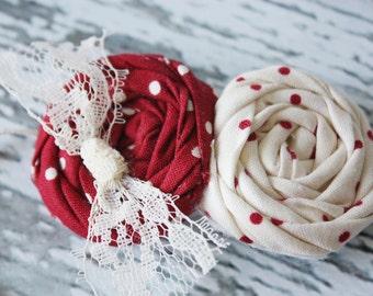 Dottie-vintage inspired crimson and ivory double polka dot rosette headband