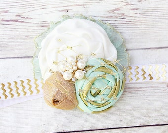 Mint For Greatness- aqua mint white gold sparkle ruffle and rose headband with tulle accent