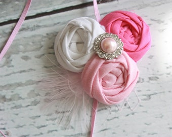 Posh in Pink-- triple rosette pink shades headband baby bow